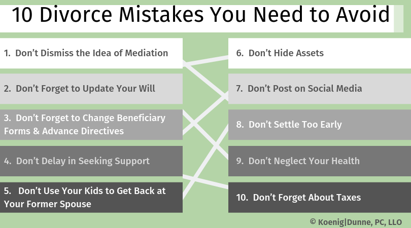 10 Divorce Mistakes You Need to Avoid