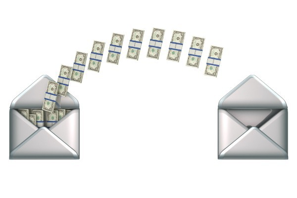 money traveling from one envelope to another envelope